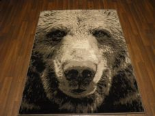 Modern Approx 5x3 80x150cm Woven Top Quality Bear Face Greys Rugs/Mats Novelty